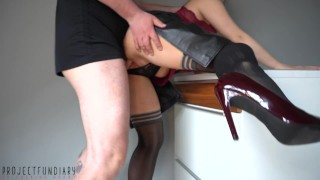 naughty housewife in leather skirt and stockings wants to be fucked hard - stinky cum mess on skirt
