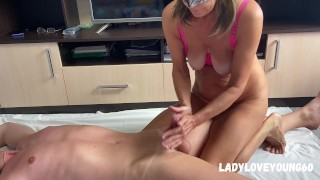 Milf caressing her stepson suck and drain his balls