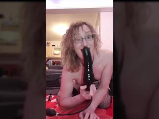Post Op Trans Girl Lisa Essex taking 8 inch Pump Up Dildo in her Ass