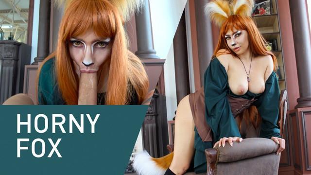 Horny Fox Sucks Huge Cock Eagerly! Cosplay, 4K!