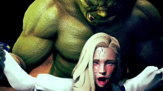 Big ork fuck with the beautiful girl at the cave - HMV 3d hentai animation