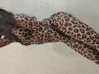 Little Pony Sissy Wore Animal Suit of Leopard and Dancing Showing Her Sexy Body