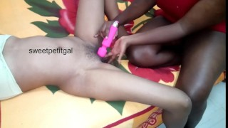 Ebony Girl with Long Nails offers Vibrator Clit Massage