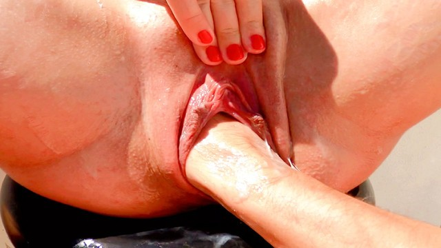 Pussy and shaved at the beach