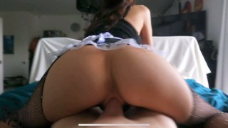 Hot milf housekeeper seduces the owner and asks him to cum in her from a big cock