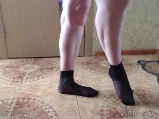 Black nylon socks foot fetish