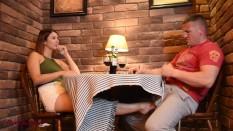 Under table blowjob: desk, bar...