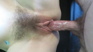 QUEEN of CREAM CUMS ON COCK - all natural MILF Cummybush gets CUMSHOT on HAIRY ARMPITS and her chest