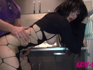 Cheating 18yo Slut fucks her new neighbour in the Kitchen and tastes his cum - KATY