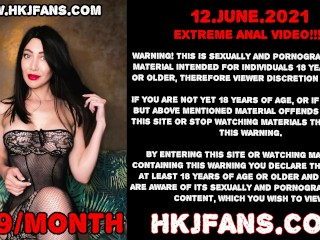 Elbow deep ruber fist in Hotkinkyjo anal hole, belly bulge & prolapse - hkjfans