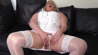 Filthy Mature Big Tit Bride can't wait for the wedding night fuck and fingers herself to orgasm