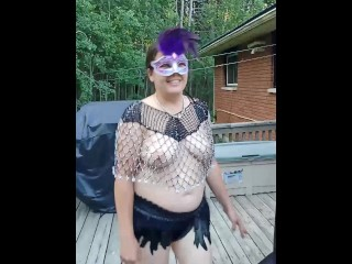 Slut Wife gives nosey neighbors a HOT Anal show