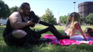 STUPID AND FAT SLAVE HUMILIATED AT THE PARK