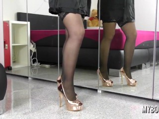 Amanda Talia in Sexy Lingerie and High Heels in Mirror