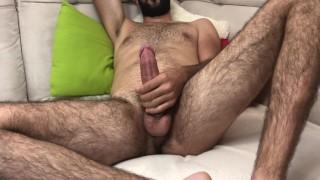 Solo Male Masturbation - Hairy Guy Cum On Body