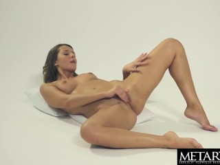 Horny beauty in sexy lingerie masturbating to a powerful orgasm