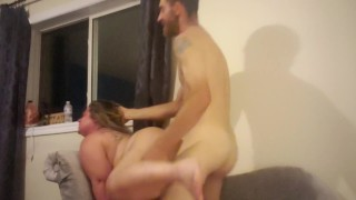 Tall Big dick fucks freckled pawg over side chair hard
