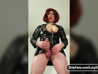 Showing off and wanking my big cock in leather look dress