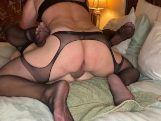 Sissy Fucking MILF with guy eating his own creampie