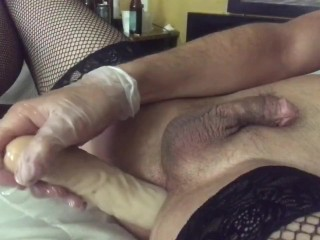 Sissy femboy takes all 27 inches deep penetration