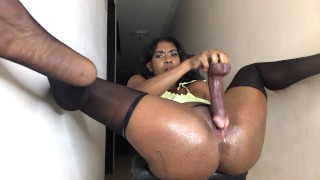 Ebony latina stepsister makes her brother cum over video call before her parents get home