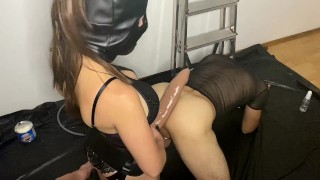 Pegging with Mr Hankey XXXCALIBUR with anal orgasm while in chastity cage