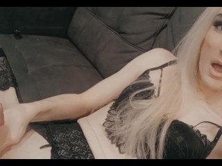 Stroking aussie trans Shecock on couch