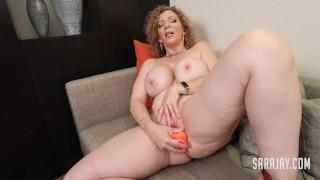Sexy MILF Sara Jay Fucks Her Pussy With Orange Dildo!