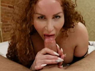 Red-haired beauty sucks a big dick and squirts violently