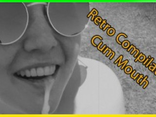 Compilation of cumshots. Pretty Girlfriend Sucks Cock and Takes Cum in Mouth Retro Black White