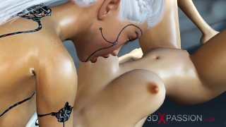 A hot 3d sci-fi android dickgirl fucks a sexy girl in space station