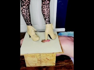 Femdom Cock Box Trample with High Heel Boots and Adidas Superstar Sneakers with Fishnet Stockings