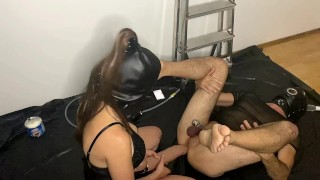 Strapon session with Huge dildo Mr Hankey XXXCALIBUR and ruined orgasm