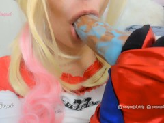 Harley Quinn cosplay cum shower, cum pool from a bad dragon huge dildo on tits and mouth, cum play
