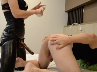 Busty Mistress Mary train her sissy slave with dildo sucking and pegging! Full version on ONLYFANS