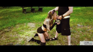 Submissive babe Rory Knox gets tied up for an anal fingering with ass to mouth and piss