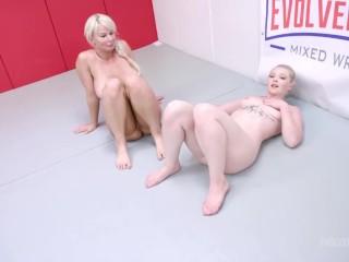 Lesbian Wrestling Fight As London River Battles Kay Carter Kissing Then Strapon Fucking Her