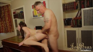 Brunette With Perfect Real Titties Fucks Her Silver Fox Tutor