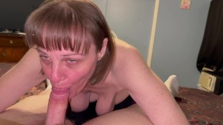 Mature cougar with saggy boobs sucking Dick till surprise oral creampie and swallowing cum