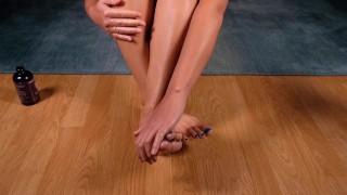 Japanese Girl Massaging Her Feet & Legs With Oil W/Underwear View 4K