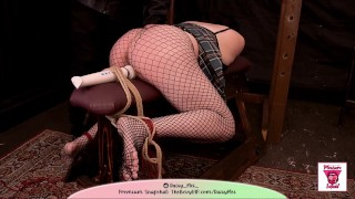 Tied to a bench flogged and hitachi used on my Asian pussy [Pleasure Squad] Daisy Mei