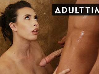 ADULT TIME - Casey Calvert Strokes Seth Gamble's Soaking Cock During Nuru Massage Shower