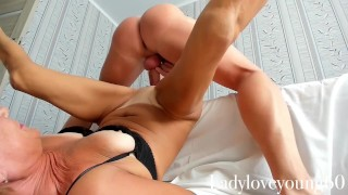 Stepmom sex exercises with big cock and balls stepson orgasm