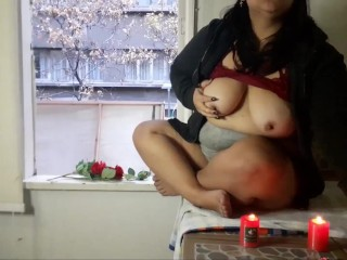 Smoking and  showing  my tits with the window Open