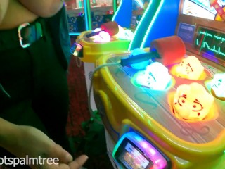 Showing my tits off while playing at the arcade! – Teaser