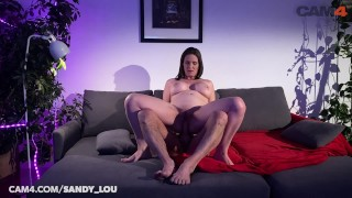 PAWG Camgirl MILF sandy_lou Rides Dildo DOUBLE ANAL | CAM4