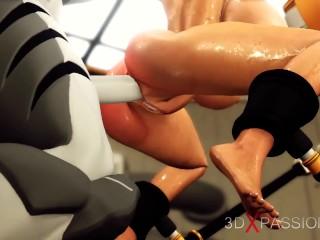 Sci-fi sex cyborg fucks hard a hot brunette in the restricted area