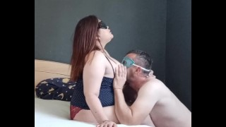 Horny hubby lick his pregnant wife boob's