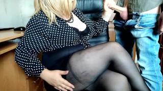 Secretary Jerks Off New Boy at Work till Cum on Crossed Legs in