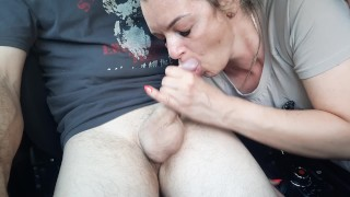 Hot wife takes a stranger and blow him in car on a public street